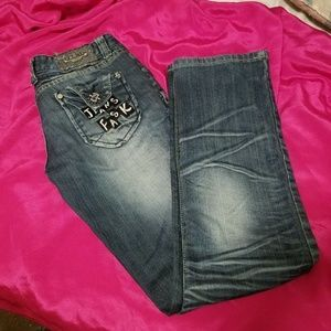 BC Blue Crystal Jeans Distressed White Wash